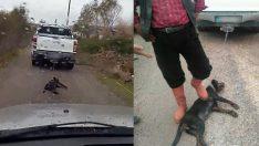 Köpeği otomobilin arkasına bağlayıp sürükleyen caninin mesleği şok etti!
