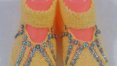 2 Şişle Çiçek Ve Boncuk Süslemeli Kolay Bayan Patiği / Çetiği Yapımı. 37 .38 numara