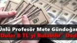 """Ünlü Profesör Mete Gündoğan """"Dolar 8 TL'yi Bulabilir"""" Dedi"""