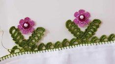 Tığ İşi V Yaprak Üstü Çiçek Motifli Havlu Kenarı Modeli Yapılışı