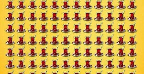 Görsel Zeka Testi: Farklı Çayı 10 Saniyede Bulabiliyorsan Görsel Zekanla Övünebilirsin Ek Olarak Çay da İkramımızdır :) Cevap için TIKLAYIN