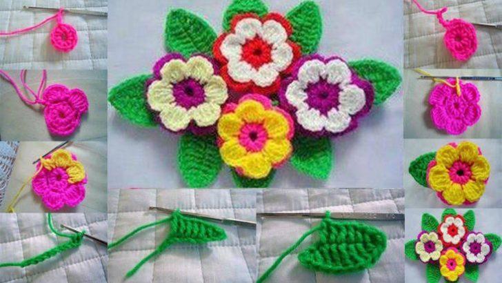 Örgü Çiçek Motifi Adım Adım Yapımı