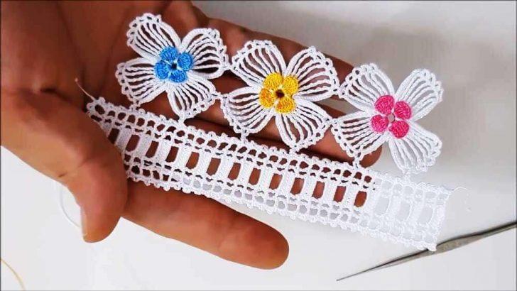 Çiçek Motifli Çeyizlik Havlu Kenarı Oyası Yapılışı
