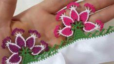 Tığ İşi Çiçekli Badem Havlu Kenarı Oya Modeli Yapım Aşamalı