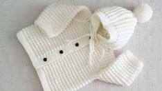 Şişle Kapüşonlu Fare Dişi Örnekli Bebek Hırkası Anlatımı