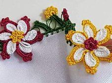 Tığ İşi Katlı Yapraklı Çiçek Motifli Oya Modeli Yapılışı