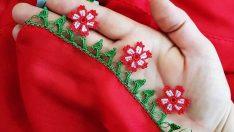 Kum Boncuk Çiçek Motifli Tığ Oyası