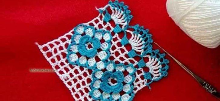 Mavi Renkten Kolay Havlu Kenarı Yapılışı