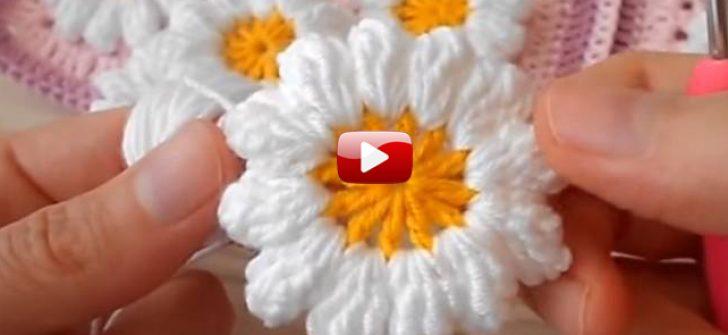Papatya Motifi Yapılışı Videolu Anlatım – Popcorn Papatya Motifi